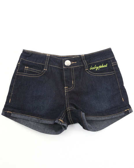 Baby Phat Girls Dark Wash Embroidered Denim Shorts (7-16)
