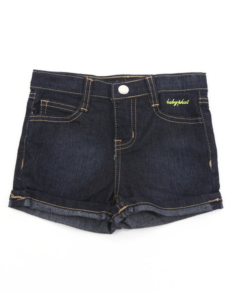 Baby Phat Girls Dark Wash Embroidered Denim Shorts (4-6X)