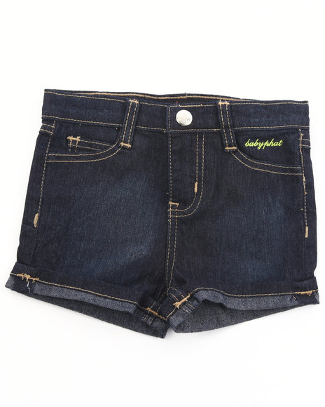 Baby Phat Girls Dark Wash Embroidered Denim Shorts (2T-4T)