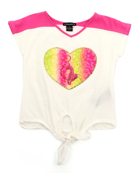 Baby Phat Girls White Colorblock Tie Front Top (2T-4T)