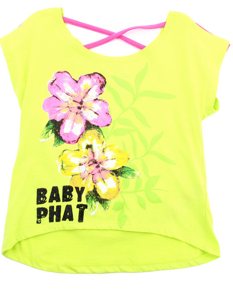 Baby Phat Girls Lime Green Hi-Lo Graphic Top (7-16)