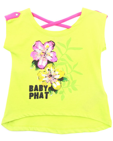 Baby Phat Girls Lime Green Hi-Lo Graphic Top (2T-4T)
