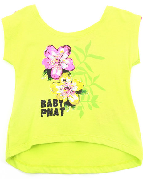 Baby Phat Girls Lime Green Hi-Lo Graphic Top (Infant)