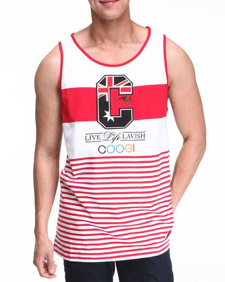 COOGI Men Red,White Lavish Tank Top