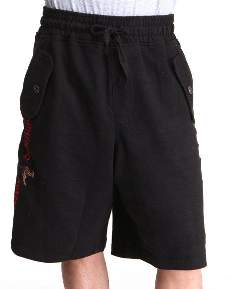 COOGI Men Black Lavish Side Logo Print Shorts