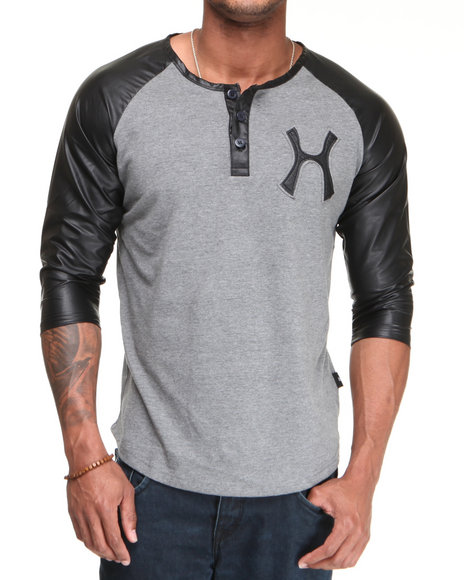 Hudson Nyc Men Black,Grey Leather Sleeve Henley