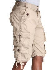 Men - Heavy Garment Washed Belted Cargo Shorts