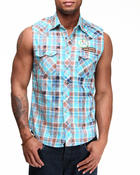 Winchester - Vintage washed Plaid Winchester Cut Off Vest