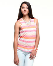 Tops - Grace Sleeveless Costa Stripe Sheer Jersey Top