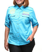 Polos & Button-Downs - Fitted Logo Roll-Up Sleeve Woman Top (Plus)