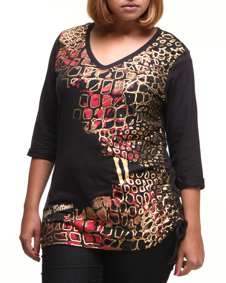 Apple Bottoms Women Black Reptile Cube 3/4 Sleeve Tee (Plus Size)