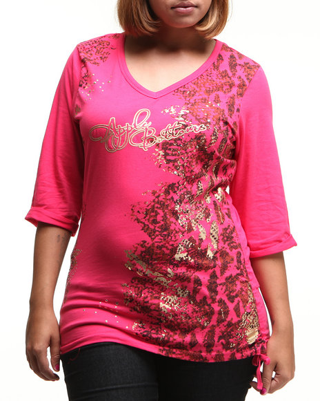 Apple Bottoms Women Dark Pink Snake Bliss 3/4 Sleeve Tee (Plus Size)