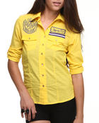 Polos & Button-Downs - Fitted Logo Roll-Up Sleeve Woman Top