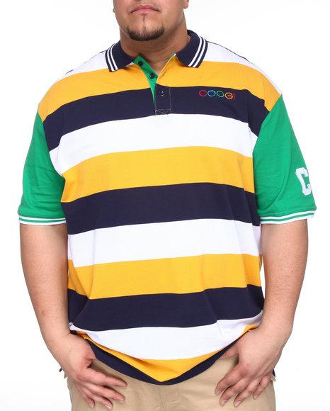 COOGI Men Dark Blue,Gold,Green Lavish Striped Yacht Polo (B&T)