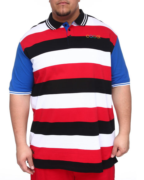 COOGI Men Black,Red,White Lavish Striped Yacht Polo (B&T)
