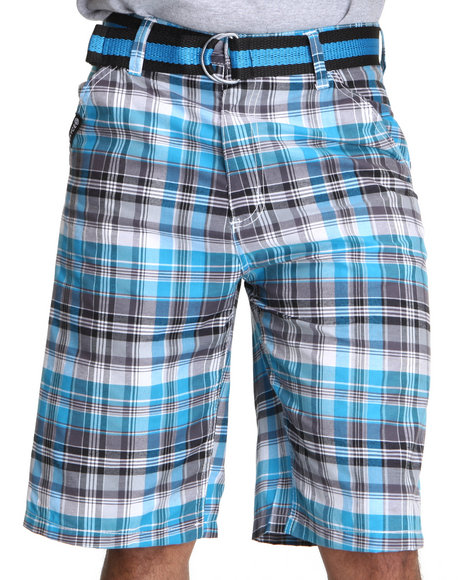 Enyce Men Light Blue,Charcoal Thrasher Plaid Short