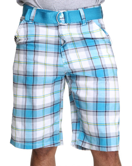 Enyce Men Blue Cube Plaid Shorts