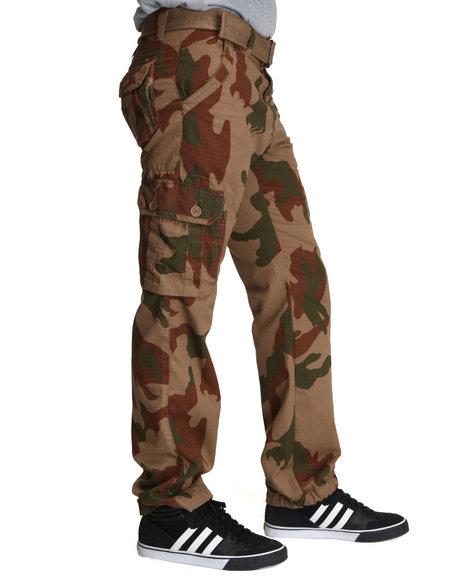 Basic Essentials - Men Camo Camo Cargo Pants With Belt