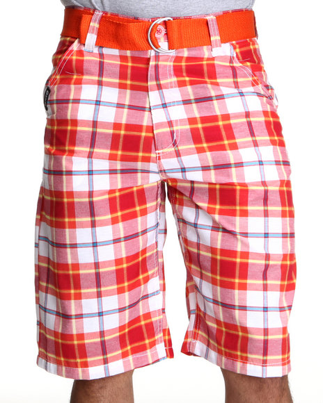 Enyce Men Orange,White Cube Plaid Shorts