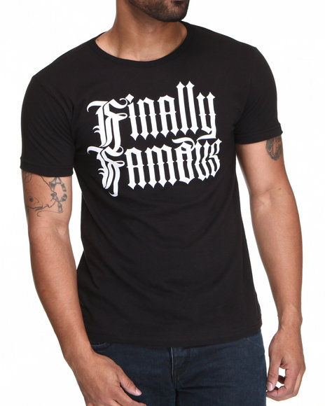 Finally Famous Men Black Gothic Logo S/S Tee