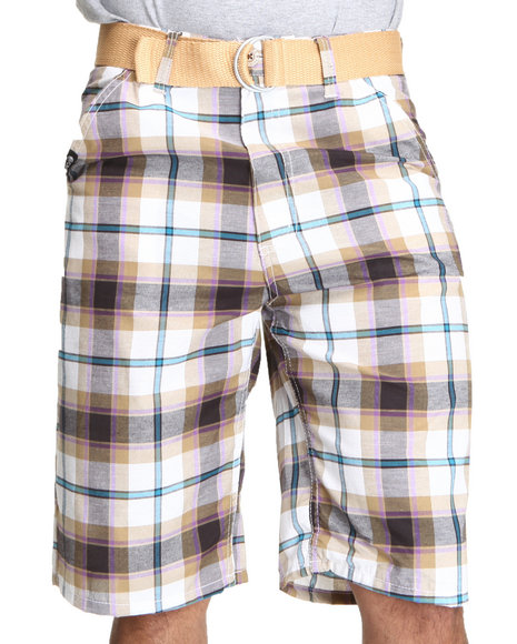 Enyce Men Khaki,White Cube Plaid Shorts