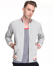 Jackets & Coats - Grey Stripe Corded Cotton Varsity Jacket