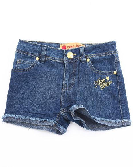 Apple Bottoms Girls Dark Wash Embroidered Pocket Denim Shorts (7-16)