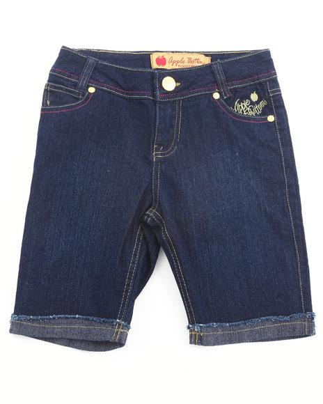 Apple Bottoms Girls Dark Wash Embroidered Pocket Denim Bermuda Shorts (7-16)