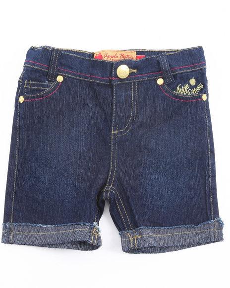Apple Bottoms Girls Dark Wash Embroidered Pocket Denim Bermuda Shorts (4-6X)