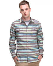 PRPS - Woven Stripe Shirt w/Chambray Sleeve Detail L/S Button Down