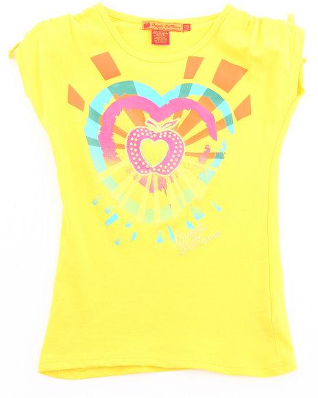 Apple Bottoms Girls Yellow Sunburst Heart Tee (7-16)