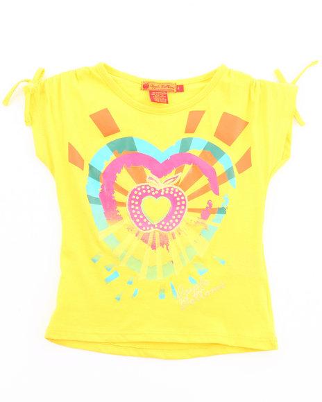 Apple Bottoms Girls Yellow Sunburst Heart Tee (4-6X)