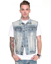 -FEATURES- - Morrison Sandbar Paint Detail Denim Vest