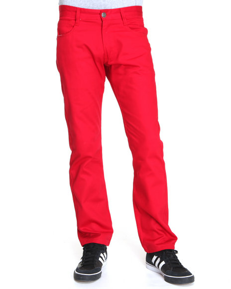 Basic Essentials Men Red Color Slim Straight Denim Jeans