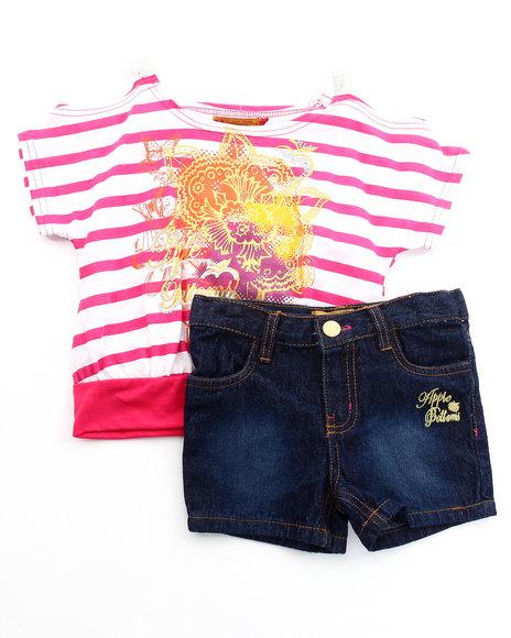 Apple Bottoms Girls Pink 2 Pc Set - Dolman Top & Denim Shorts (4-6X)