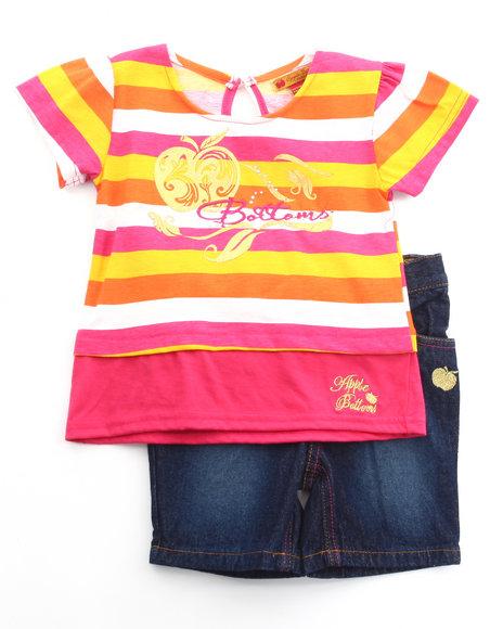 Apple Bottoms Girls Pink 2 Pc Set - Mock Crop Top & Bermuda Shorts (4-6X)