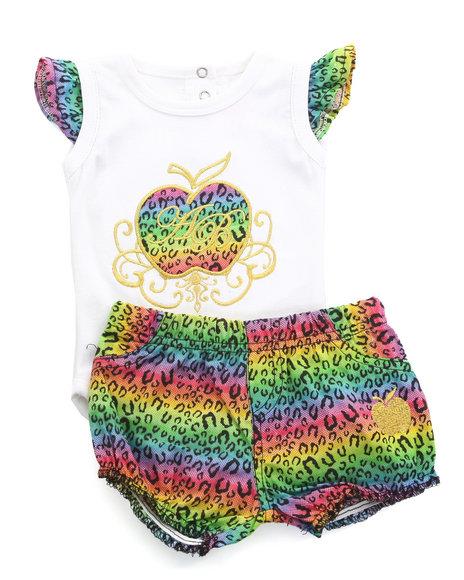 Apple Bottoms Girls Multi 2 Pc Set - Bodysuit & Ruffle Shorts (Newborn)