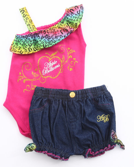 Apple Bottoms Girls Pink 2 Pc Set - Asymmetrical Bodysuit & Shorts (Newborn)