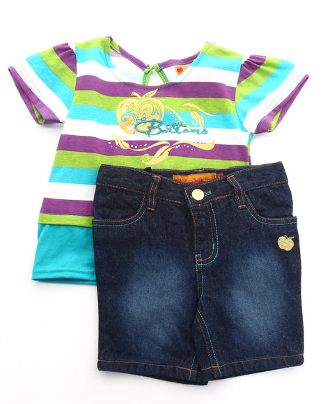 Apple Bottoms Girls Teal 2 Pc Set - Mock Crop Top & Bermuda Shorts (4-6X)