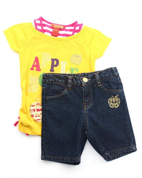 Apple Bottoms Girls Yellow 2 Pc Set - Logo Twofer & Bermuda Shorts (4-6X)