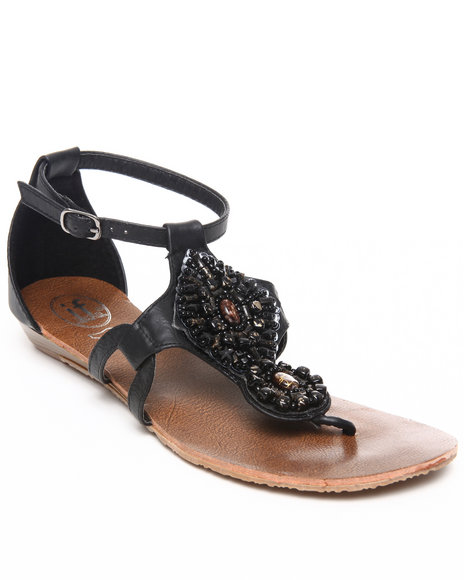 Fashion Lab Women Black Jeweled Sandal