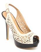 Two Lip Shoes Women Fancy Cut-Out Design Platform Heel Tan 9