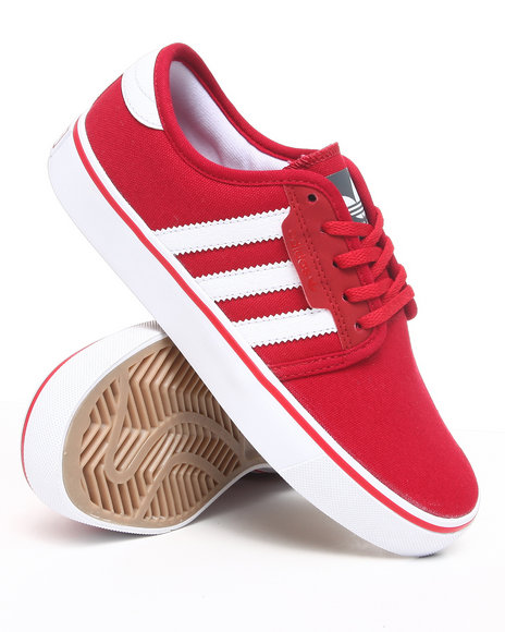 Adidas Boys Red Seeley J Canvas Sneakers