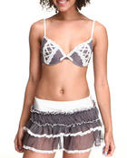 Intimates & Sleepwear - Mesh Lace-up Bra Skirt Set