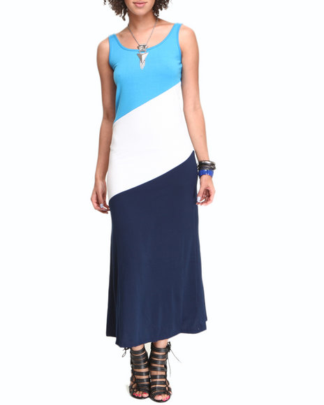 Fashion Lab Women Blue,White Cherry Maxi Tank Dress