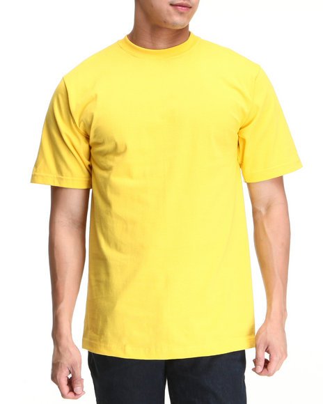 Basic Essentials Men Yellow Plain Short Sleeve Crew Neck Tee