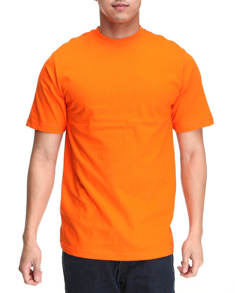 Basic Essentials Men Orange Plain Short Sleeve Crew Neck Tee