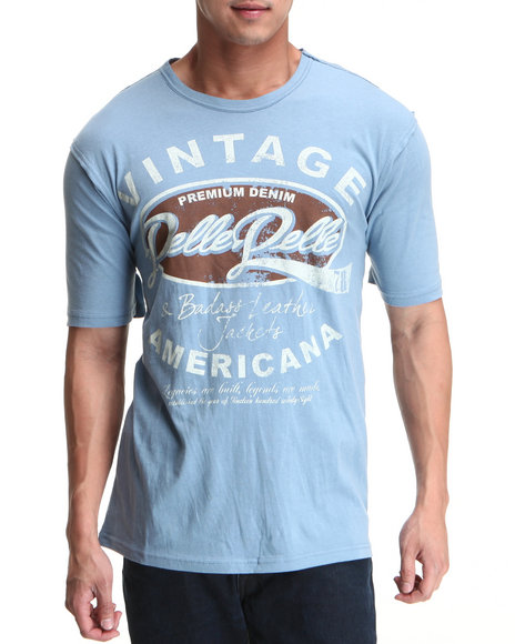 Pelle Pelle Men Light Blue S/S Vintage Americana Tee