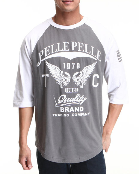 Pelle Pelle Men Grey,White Pelle 3/4 Sleeve Raglan Tee