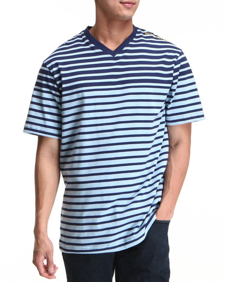 Rocawear Men Dark Blue,Light Blue Stripe S/S V-Neck Tee